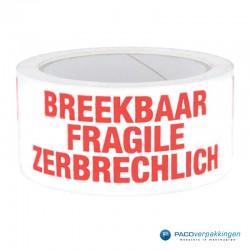 Verpakkingstape - Breekbaar 3 talen - Wit / Rood - Vooraanzicht