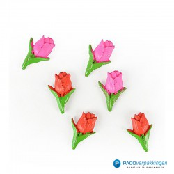 Plakdecoratie - Tulpen - Roze en Rood - Vooraanzicht