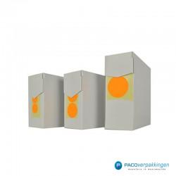 Stickers rond - Fluor Oranje Mat- Dispensers zijaanzicht
