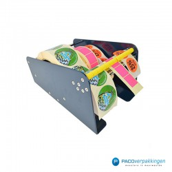 Stickers dispenser 3 rollen - Blauw - Zijaanzicht