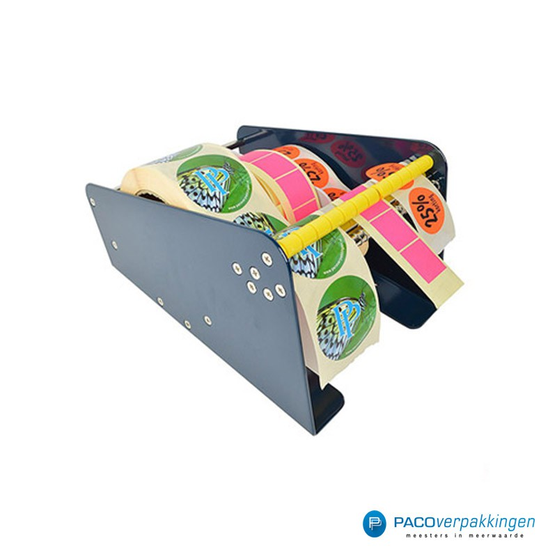 Stickers dispenser 3 rollen - Blauw - Zijaanzicht