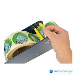 Stickers dispenser 1 rol - Blauw - Gebruik