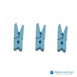 Houten knijper - Licht blauw - 3 stuks