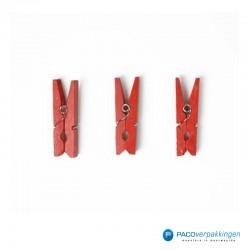 Houten knijper - Rood - 3 stuks