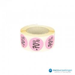 Kortingsstickers - 70% - Roze - Rol