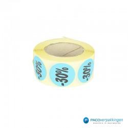 Kortingsstickers - 30% - Blauw - Rol