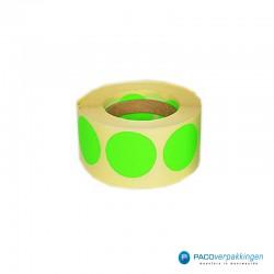 Stickers rond - Fluor Groen Mat- Rol