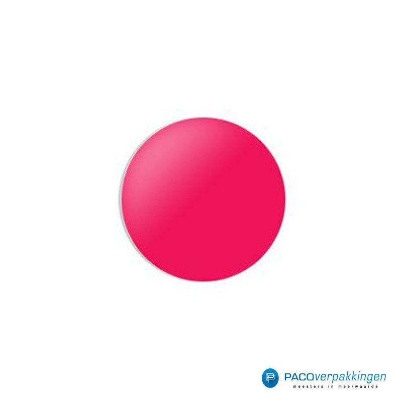Stickers rond - Fluor Roze Mat - Vooraanzicht