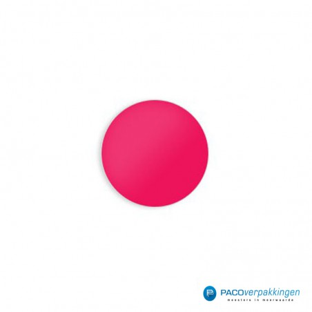 Stickers rond - Fluor Roze Mat