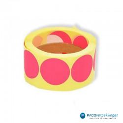 Stickers rond - Fluor Roze - Rol