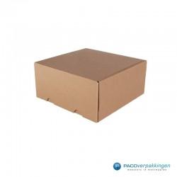 Postdozen met klepsluiting - Duo - Bruin Kraft en Wit Kraft - Luxe - Zijaanzicht dicht bruin