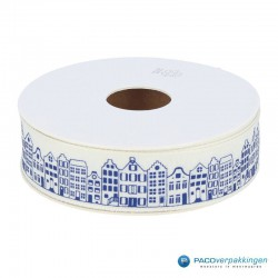Inpaklint - Amsterdamse Huisjes - Blauw op wit - rol