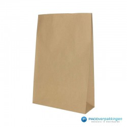 Blokbodem zakken papier - Take Away Bag - Bruin kraft - Recycle - vooraanzicht zijkant