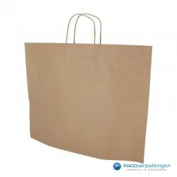 Papieren draagtassen - Bruin Kraft - Recycle - Gedraaide handgreep - Zijaanzicht