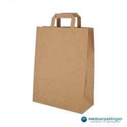 Papieren draagtassen - Bruin Kraft - Platte handgreep - vooraanzicht schuin