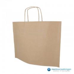 Papieren draagtassen - Bruin Kraft - Recycle - Gedraaide handgreep - Vooraanzicht zijkant