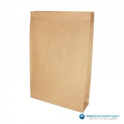 Blokbodem zakken papier - Take Away Bag - Bruin kraft - Recycle - Zijaanzicht