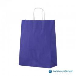 Papieren draagtassen - Blauw - Gedraaide handgreep - Zijaanzicht voor