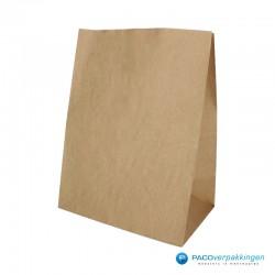Blokbodemzakken papier - Bruin - Basic - voor/zijaanzicht