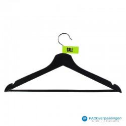 Kleding labels - Groen - Sale - Textiel - Vooraanzicht op hanger