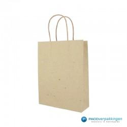 Papieren draagtassen - Kraft bruin - Recycle - 7424 - Zijaanzicht - Hoofdafbeelding