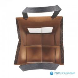 Biertassen - 4 flessen - Bruin kraft mat met venster - Luxe - 7430 - Bovenaanzicht