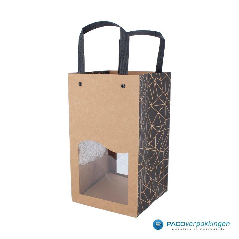 Biertassen - 4 flessen - Bruin kraft mat met venster - Luxe - 7430 - Zijaanzicht Hoofdafbeelding