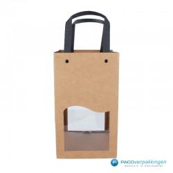 Biertassen - 4 flessen - Bruin kraft mat met venster - Luxe - 7430 - Vooraanzicht