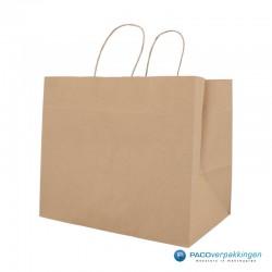 Papieren draagtassen - Snacktas - Bruin Kraft - Gedraaide handgreep - Zijaanzicht