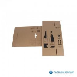 Verzenddoos Wijndoos - 2 flessen - Uitgevouwen
