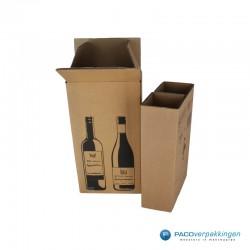 Verzenddoos Wijndoos - 2 flessen - Open