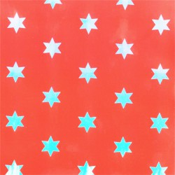 Inpakpapier Feestdagen - Sterren - Zilver op rood (Nr. K217) - Close-up
