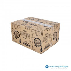 Kerstpakketdozen - Geschenkdoos - Verzenddoos - Bruin met zwart - Zijaanzicht