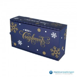 Wijndozen - Geschenkdozen - Blauw met goud - Zijaanzicht