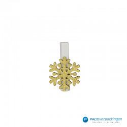 Houten knijper - Sneeuwvlok - Goud - Vooraanzicht