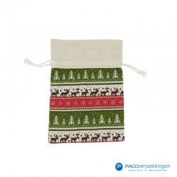 Katoenen zakjes - Kerst - Multikleur op zand - Vooraanzicht