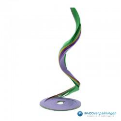 Opvulmateriaal - Swirl van zijdepapier - Lila, geel en groen - Opengeklapt