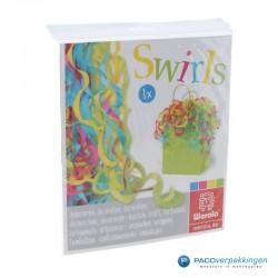 Opvulmateriaal - Swirl van zijdepapier - Paars, roze, geel en groen - In verpakking