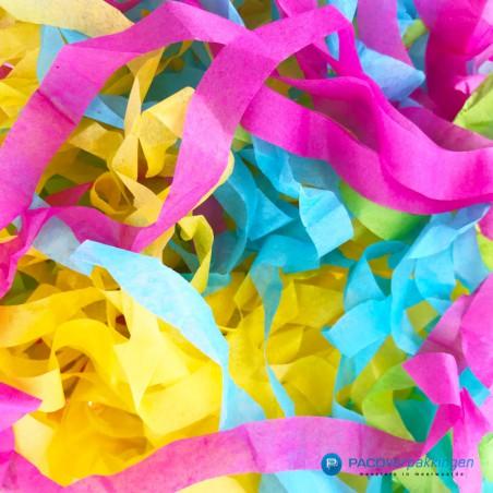 Opvulmateriaal - Swirl van zijdepapier - Blauw, roze, geel en groen