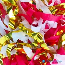 Opvulmateriaal - Swirl van zijdepapier - Rood, wit en goud - Close-up