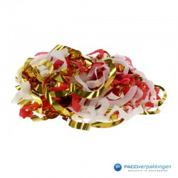 Opvulmateriaal - Swirl van zijdepapier - Rood, wit en goud- Open