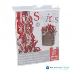 Opvulmateriaal - Swirl van zijdepapier - Rood, wit en zilver - In verpakking
