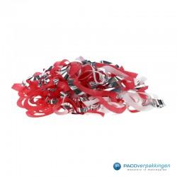 Opvulmateriaal - Swirl van zijdepapier - Rood, wit en zilver - Open