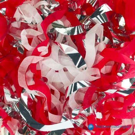 Opvulmateriaal - Swirl van zijdepapier - Rood, wit en zilver