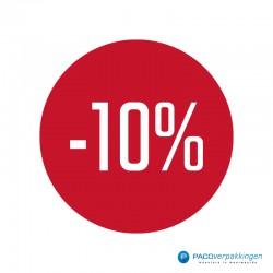 Kortingsstickers - 10% - Wit op Rood Glans - Vooraanzicht