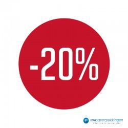Kortingsstickers - 20% - Wit op Rood Glans - Vooraanzicht