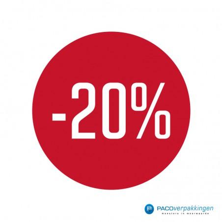 Kortingsstickers - 20% - Wit op Rood Glans