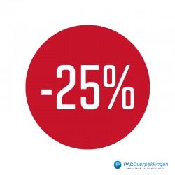 Kortingsstickers - 25% - Wit op Rood Glans - Vooraanzicht