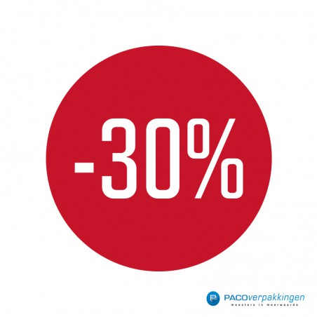 Kortingsstickers - 30% - Wit op Rood Glans