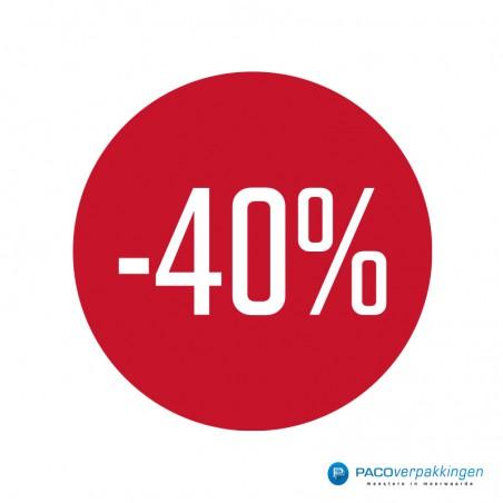 Kortingsstickers - 40% - Wit op Rood Glans